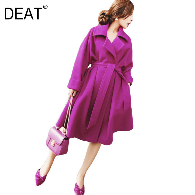 DEAT 2019 New Fashion Women Clothes Turn down Collar Rose Red Colors Slim Waist Adjust Asymmetrical