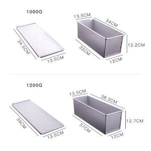 Image 5 - 250 グラム/450 グラム/750 グラム/900/1000/1200 グラムアルミ合金トーストボックスパン斤のパンケーキ型ベーキングツールと蓋