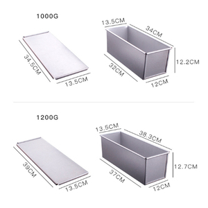 Image 5 - 250g/450g/750g/900/1000/1200g Aluminum Alloy Toast boxes Bread Loaf Pan cake mold baking tool with lid
