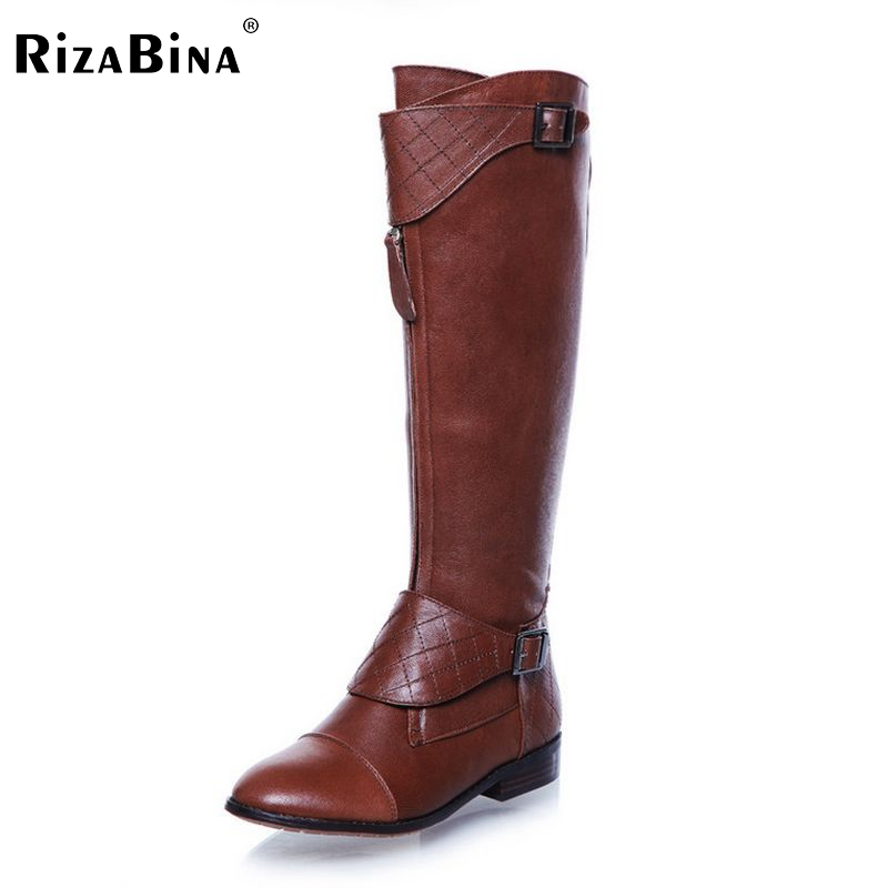 RizaBina woman over knee natrual genuine leather flat boots women snow botas winter warm boot shoes  R1842 EUR size 34-40