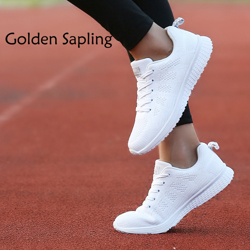 Golden Sapling Women's Running Shoes White Woman Sneakers Air Fabric Womens Sport Shoes Women Lightweight Summer Sneakers Mesh