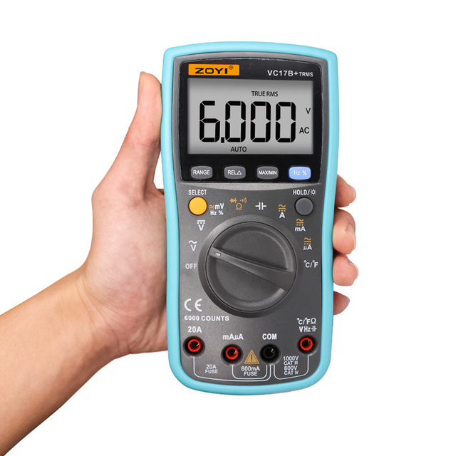 Electrical LCD Display Digital Multimeter Multifunction Voltmeter Ammeter Ohmmeter AC DC Tester 6000 Counts Backlight Auto Range