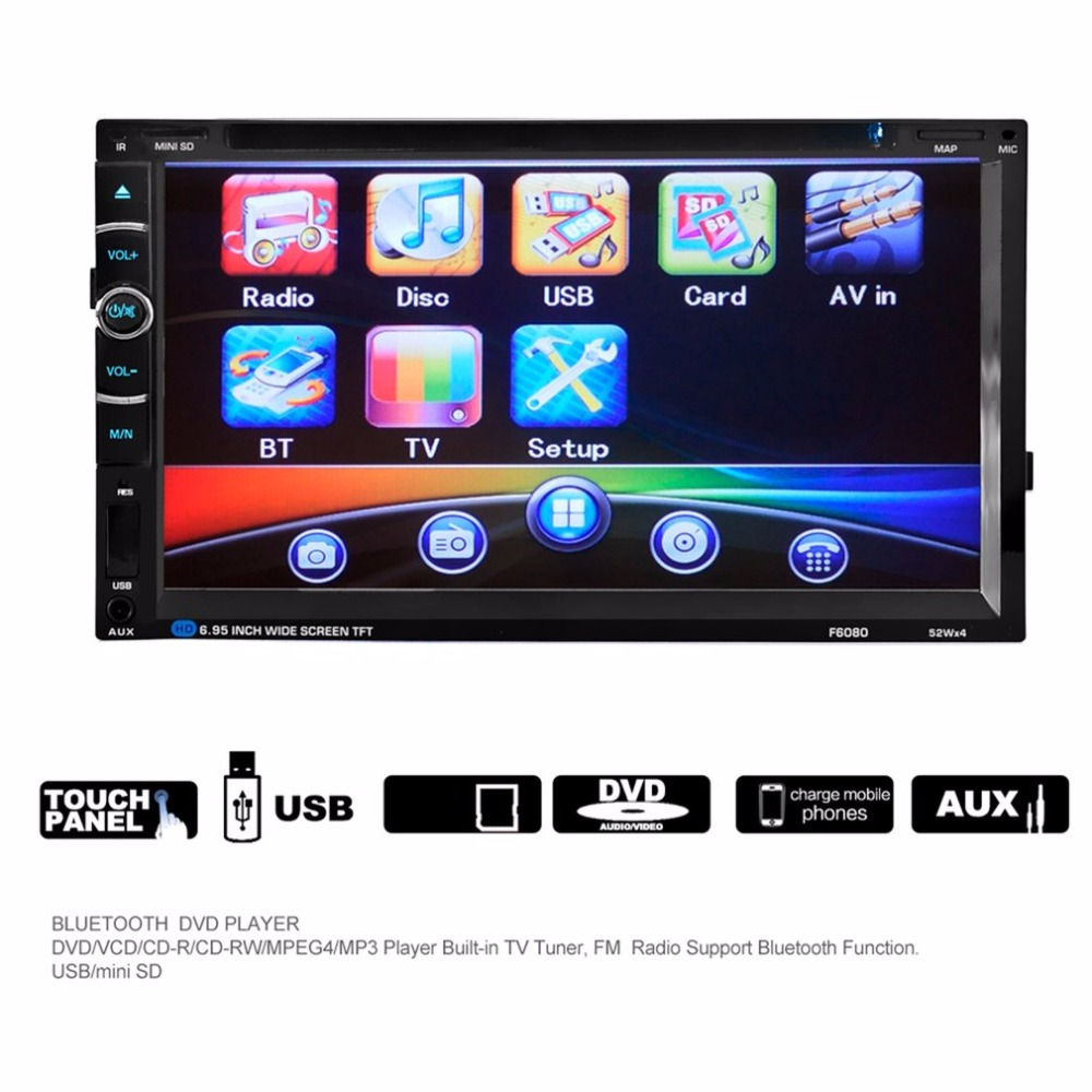 Android 7in Double 2Din 800 * 480 Car Radio Universal Without GPS DVD Car Audio Car Stereo Auto USB Bluetooth Radio FM 45W*4 автомобильный dvd плеер joyous kd 7 800 480 2 din 4 4 gps navi toyota rav4 4 4 dvd dual core rds wifi 3g