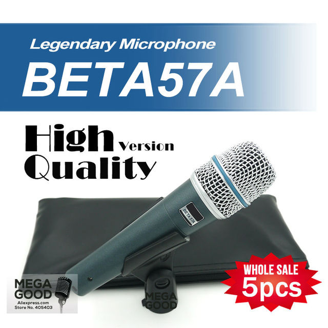 Free Shipping Wholesale 5pcs/lots BETA57 Professional BETA57A Super Cardioid Handheld Dynamic Wired Microphone Beta 57A 57 A Mic