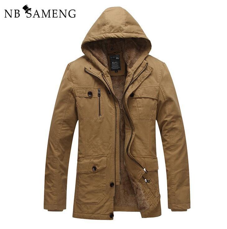 ФОТО 2017 New Mens Brand Thickening Winter Jacket Men Coat Cotton-Padded Brand Clothing Fleece  Military Warm Parka NSWT140