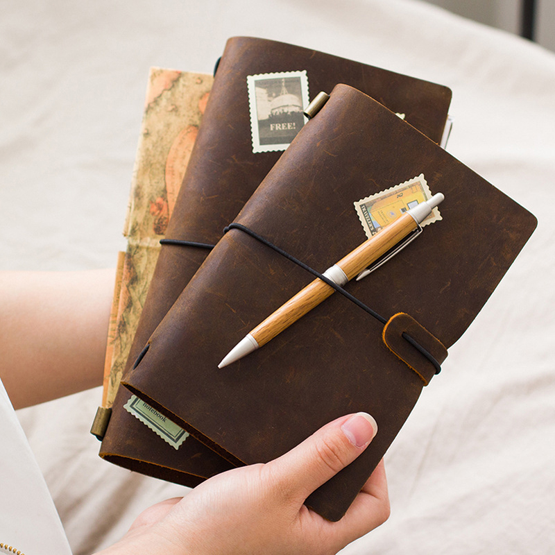 100% Genuine Cow Leather Cover Retro Traveler's Notebook Diary Journal Vintage Handmade Cute Travel Note Book Pocket Stationery freeshipping retro handmade stitching binding cloth covered notebook chinese style lotus printing notebook