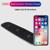 Multi Function Qi Standard Fast Wireless Charger Pad 10W Quick Wireless Charging With USB Charging Adapter
