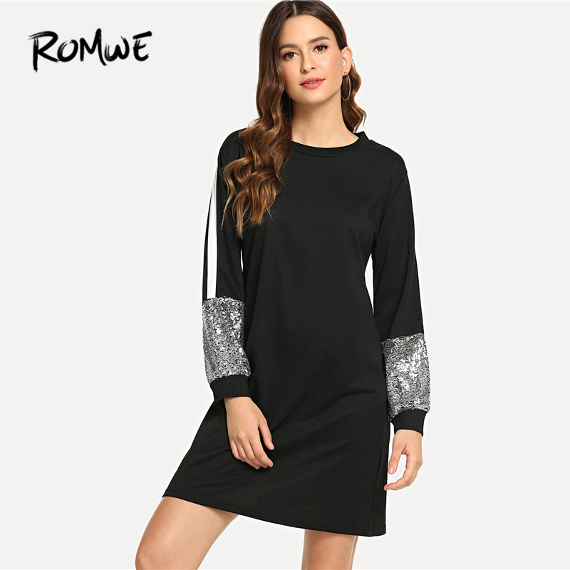romwe contrast sequin sweatshirt dress 2019 black long