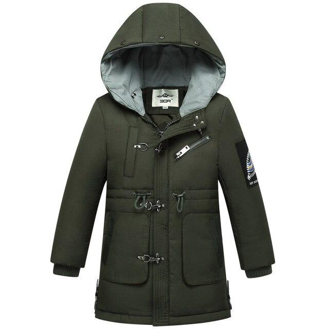 2018 Детские Зимние куртки для мальчиков и девочек, теплое плотное теплое пальто для мальчиков, Длинные куртки для детей, зимние костюмы, парки для девочек, пуховики