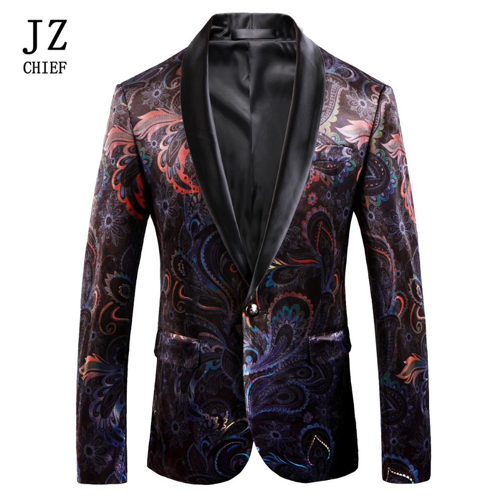 JZ CHIEF Men Corduroy Jacket Velvet Blazer Man Casual Suit Plus Size Stage Costumes Tuxedo Unique Print Colorful Floral Pattern