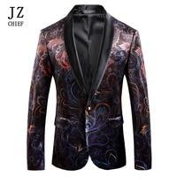 JZ CHIEF Men Corduroy Jacket Velvet Blazer Man Casual Suit Plus Size Stage Costumes Tuxedo Unique Print Colorful Floral Pattern