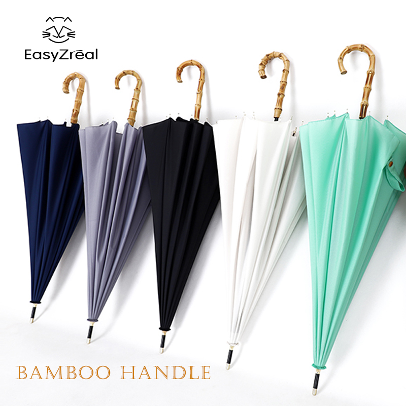 2019 High Quality Bamboo Long Handle Strong Rain Umbrella Women Men 16K Glassfiber Japanese Style Windproof Parasol Couple Gifts