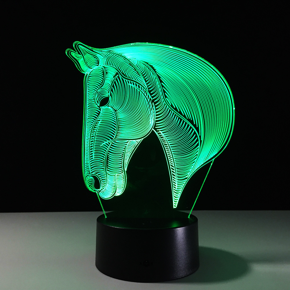 USB Novelty Gift 7 Colors Changing Animal Horse LED Night Light 3D LED Desk Table Lamp as Home Decoration Kids Bedside Lava Lamp