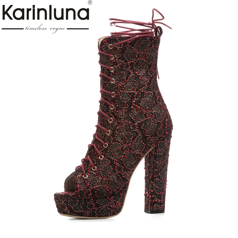 KarinLuna 2018 large Size 33-43 Platform shoeslace Sexy super High Heels Summer Boots shoes woman platform Gladiator Shoes Women hee grand gold silver high heels 2017 summer gladiator sandals sexy platform shoes woman casual shoes size 35 43 xwz4075