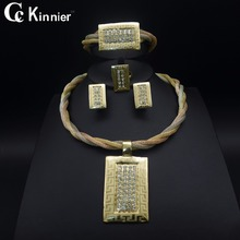 Dubai gold-color wedding jewelry set Three color Exaggerated Fashion women Bridal African beads Necklace Bangle Earring Ring