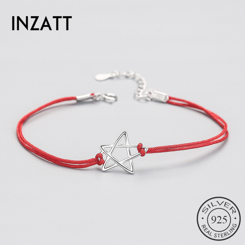 INZATT Authentic 925 Sterling Silver Ethnic Red Rope Hollow Star Bracelet Fine Jewelry For Women Party Trendy Accessories Gift