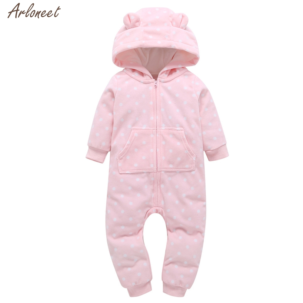 2017 Infant Baby Boy Girl Thicker Dots Print Hooded Romper Jumpsuit Home Clothes Fantasy