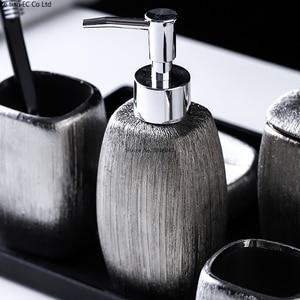 Image 3 - European style bathroom set of 6 electroplating silver ceramic toiletries set melamine tray bathroom accessories decoration