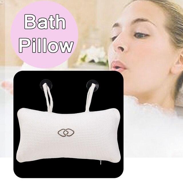 1pc Inflatable White Square Bath Pillow 360 x 180 x 100mm Headrest Bathroom Bath Pillow Cushion Pillow With 2 Suction Cups