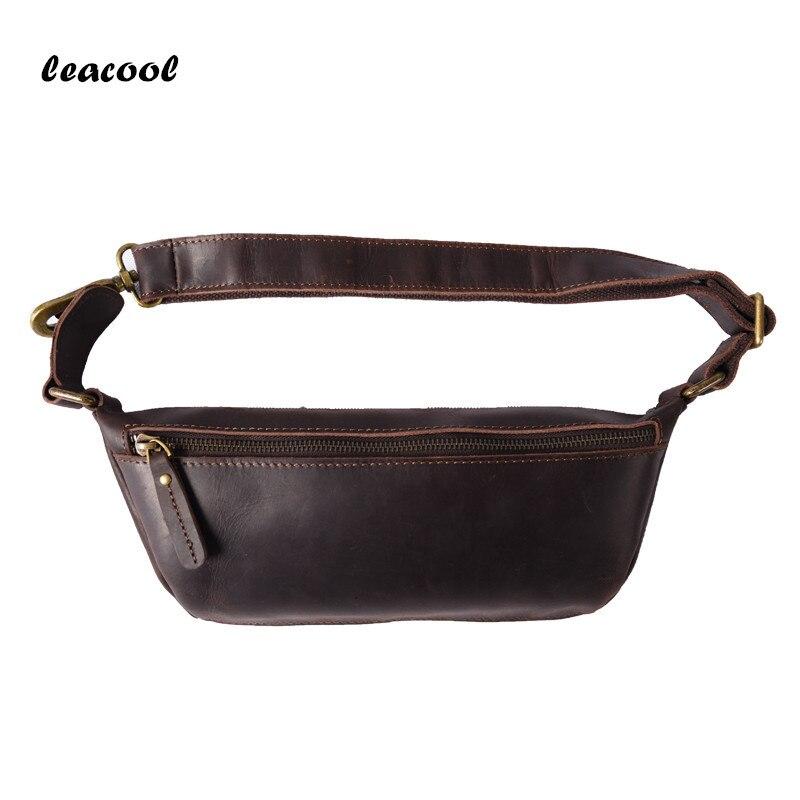 LEACOOL Genuine Leather Cross Body Bag 100% Vintage Leather Handbag Tote Cowhide Handbags Crazy Horse Leather Messenger Bag