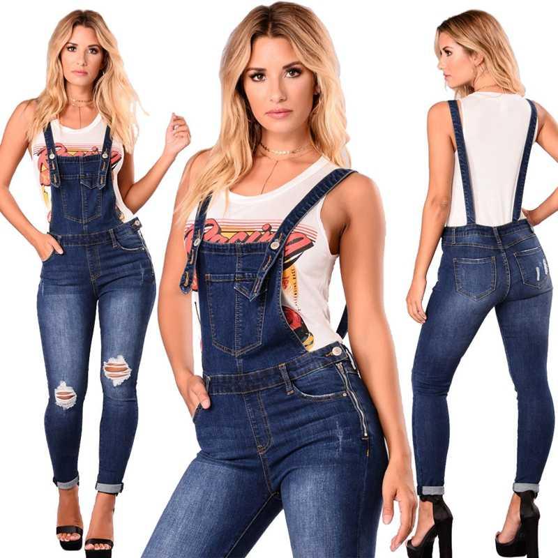 Vrouwen Mode Gat Jumpsuit Denim Overalls Herfst Winter Blue Strap Ripped Zakken Enkellange Broek Denim Jeans Jumpsuit