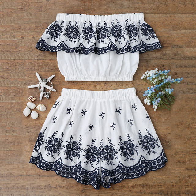 ZAFUL Women Summer Two Piece Set Women Suits Off Shoulder Embroidered Ruffles  Crop Top With Shorts