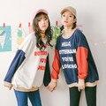 Толстовки женщин 2017 Весна harajuku корейский капюшоном шить Лоскутное каваи жизни Письма Печатаются кактус кокосовое футболка женщин