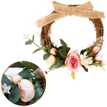 25cm Burlap Knot Artificial Rose Flower Wreath Hanging Window Wall Decor Flowers Home Garden Party Supplies