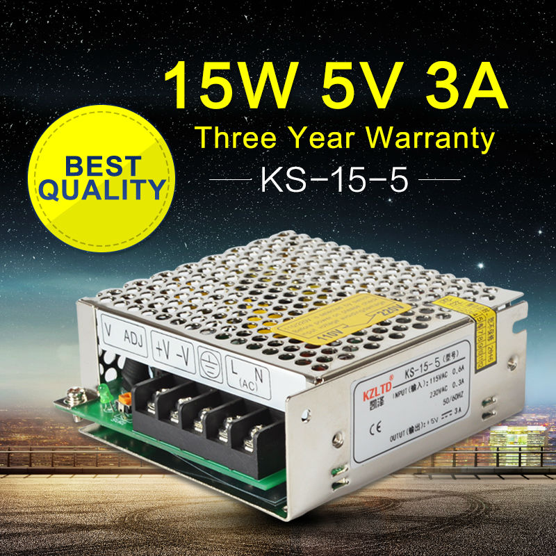 Switching Power Supply 5V 3A 15W AC-DC 5V Switching Power Adapter for <font><b>LED</b></font> <font><b>Module</b></font> Light CCTV Radio High Efficiency Transformer
