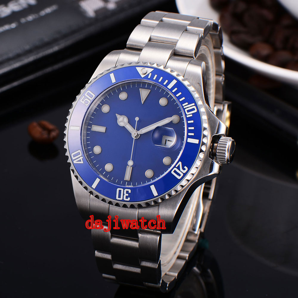parnis 43mm blue dial stainless steel case Sapphire glass calendar mechanical automatic watch men цена 2017