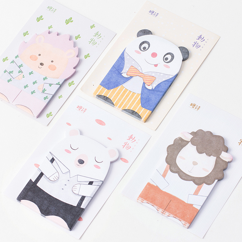 4 Pcs/Lot Cute Animal Sticky Note Panda Bear Sheep Memo Stickers Diary Planner Stationery Office Supplies Material School A6684
