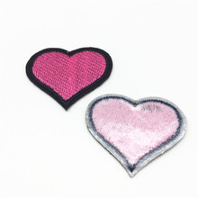 100pcs Love Heart Patches for Clothes Iron on Appliques Child Clothing Stickers Embroidery Badges DIY Stripes