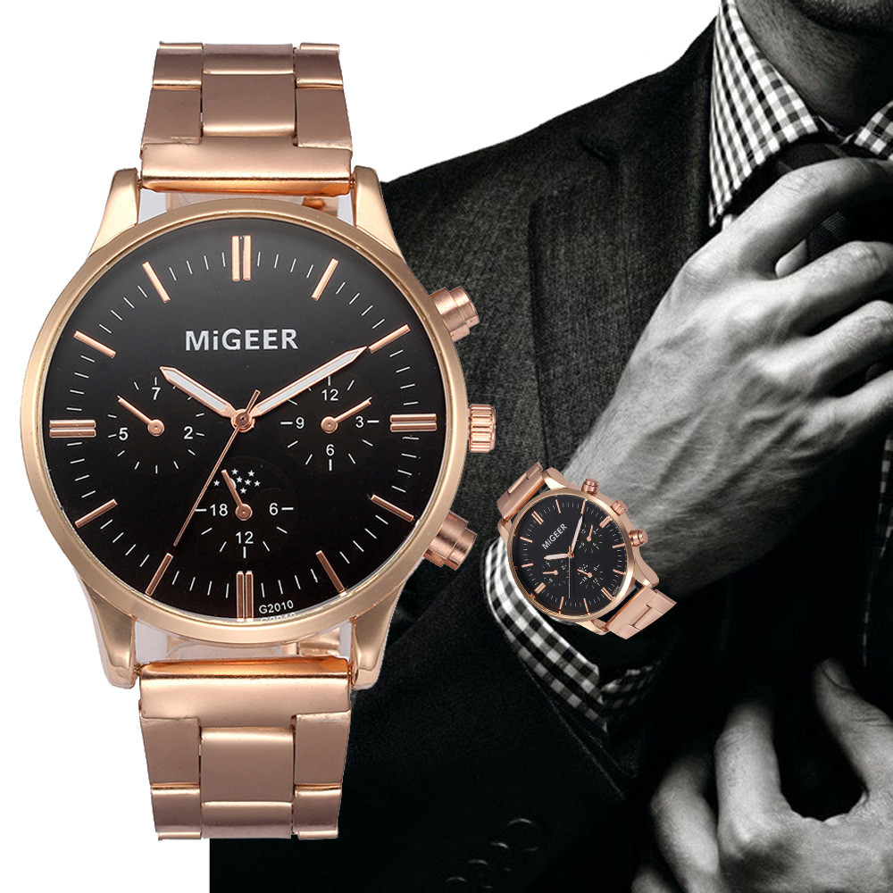 Mens Watches Top Brand Luxury Silver Rose Gold Crystal Stainless Steel Analog Military Army Quartz Wrist Watch Relogio Masculino mens watches top brand luxury gold