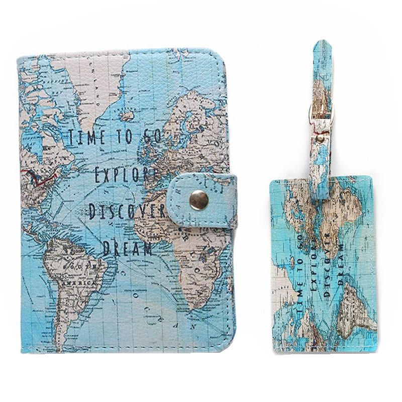 1Set Flamingo Map Passport Covers Luggage Tag Travel Accessories Creative PU Leather ID Bank Card BagBusiness Holder 14*9.6cm