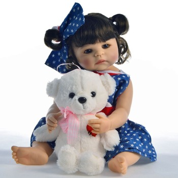 57cm Full Silicone Body Vinyl Reborn Girl Lifelike Baby Doll Newborn vinyl reborn Toddler Toy Bonecas modeling Birthday Gift