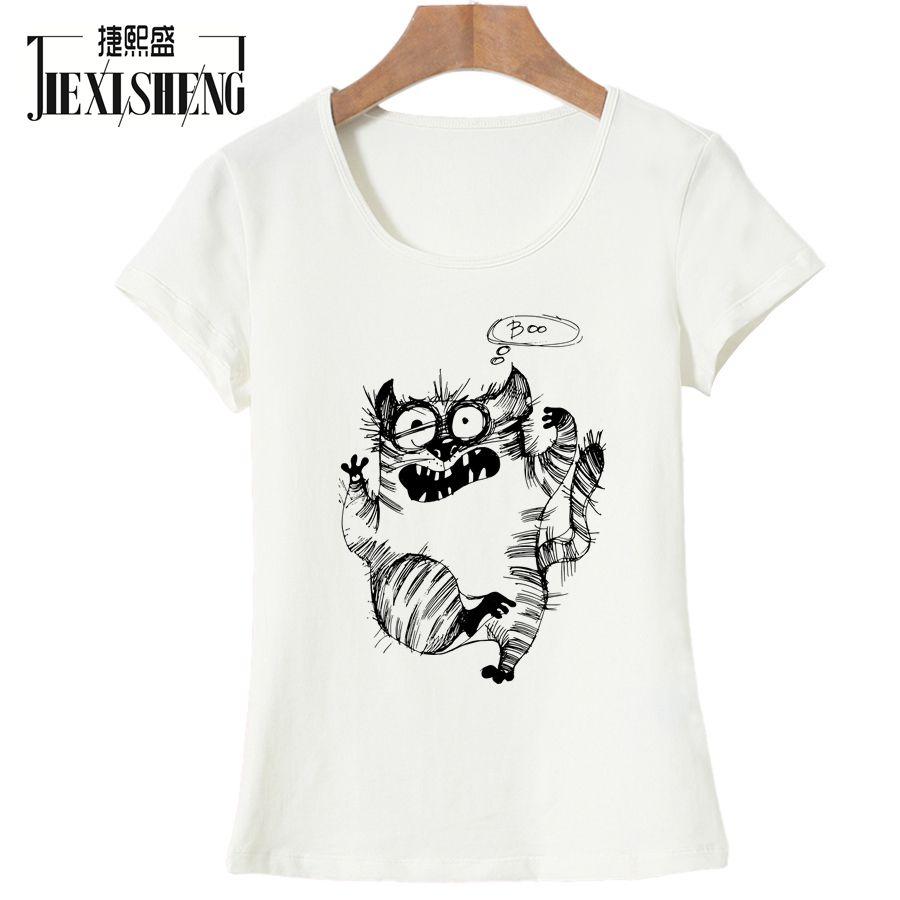 Summer Top Quality Cotton Funny Sketch Cat Print Women T Shirt Casual O-neck Women T-shirt 2017 New Design Woman Tee Shirts
