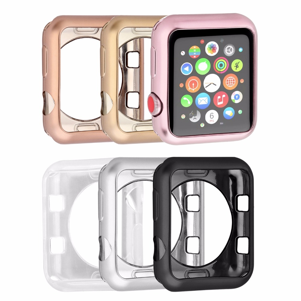 купить Stylish Soft TPU protective Case iwatch Series 3 2 1 For Apple Watch 38mm 42mm Colorful Cover Shell 42 mm Perfect Match Bumper недорого