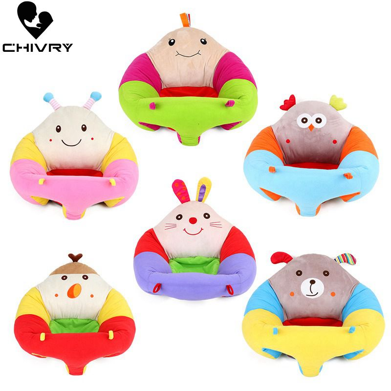 Chivry Infant Baby Sofa Baby Learning Chair Plush Toy PP Cotton Feeding Chair Cute Cartoon Kids Baby Soft Seat Gift for 0 3T