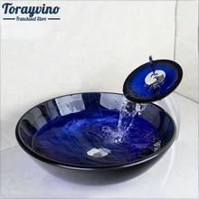 Torayvino Blue Transparent Round Tempered Glass Vessel Sink Mixer With Waterfall Faucet With Pop - Up Drain basin faucet(China)