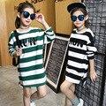 2017 Primavera meninas de algodão T camisa roupas das meninas listrado camisola impresso crianças roupas crianças t-shirt para meninas roupa dos miúdos