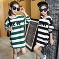 2017 muchachas Del Resorte de la camiseta de algodón ropa de las muchachas de rayas camiseta impresa niños ropa niños camiseta para las muchachas embroma la ropa