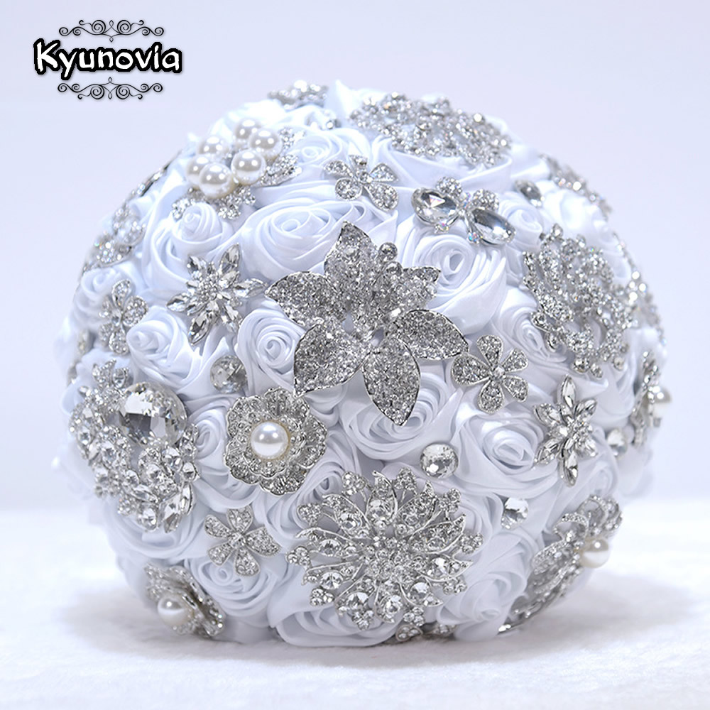 Kyunovia White Brooch Bouquet Rose Gold Jeweled Wedding Bridal Crystal Bling Boquet Luxury Bouquet  Memory  Bridal Bouquet  D59