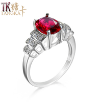 TANGKA top luxury fashion red zircon ring for women girlfriend party jewelry copper ring sales silver color woman's ring