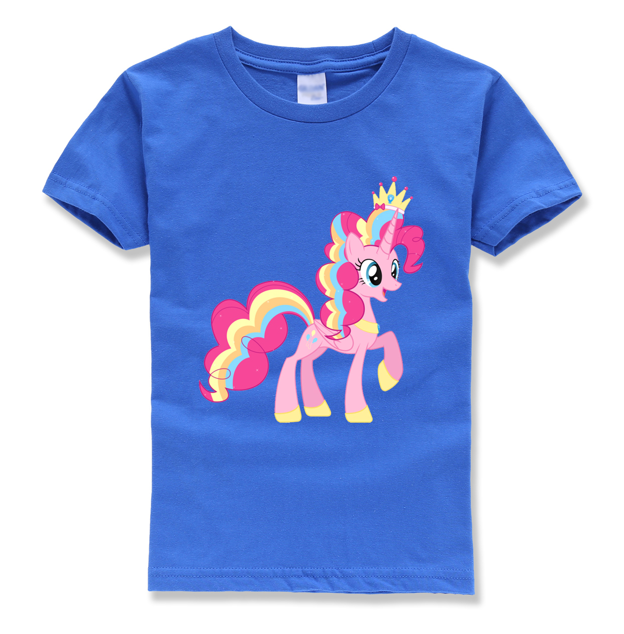 цена beautiful Crown unicorn tops brand homme stretewear t shirts kids short sleece harajuku casual o neck t-shirt children shirts