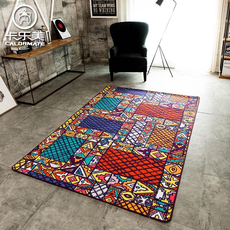 Funky Rainbow Colored Area Rugs: Modern Graffiti Colorful Geometric Patterns Sofa Bedroom