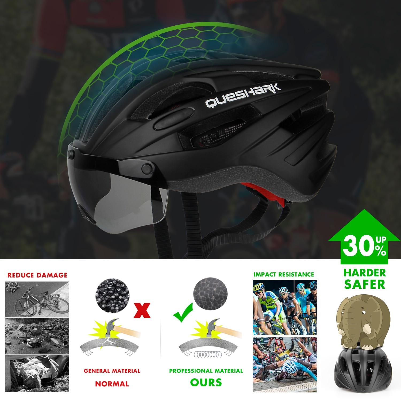 QUESHARK ветрозащитный велосипедный шлем защитные шапки для верховой езды дышащие горные шоссейные MTB велосипедные шлемы с очками съемные линз...