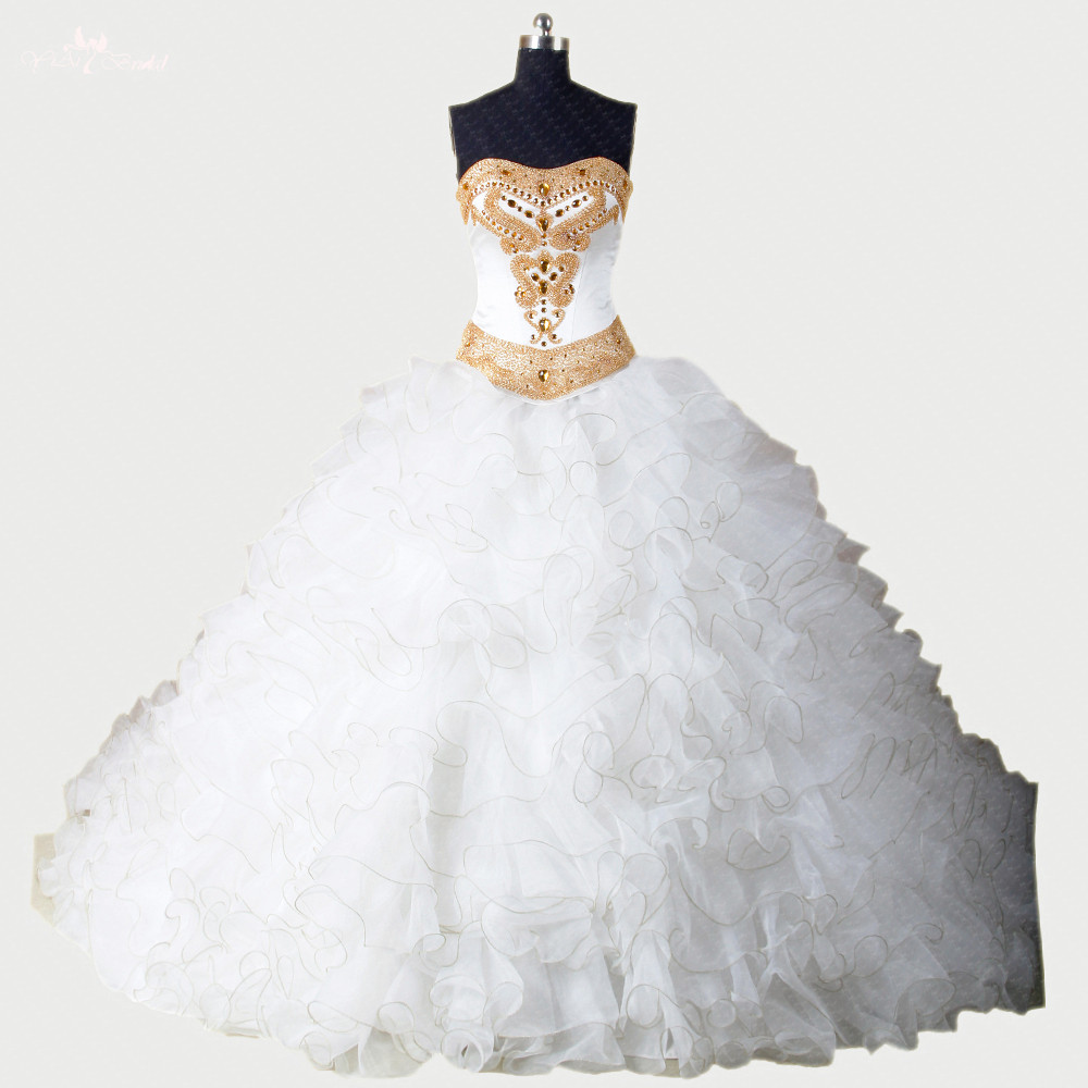 Popular White and Gold Prom Dresses Ball Gown-Buy Cheap White and ...