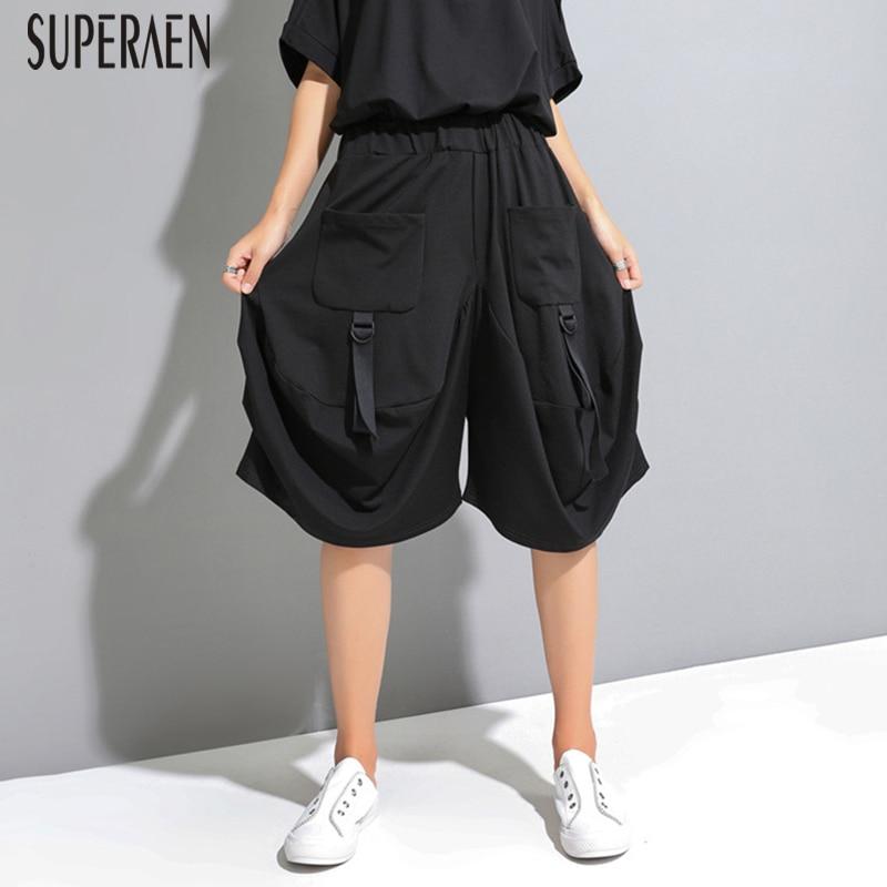 SuperAen Europe Women's Knee Length   Pants   2019 Summer New Casual Elastic Waist   Pants   Female Cotton   Wide     Leg     Pants   Women