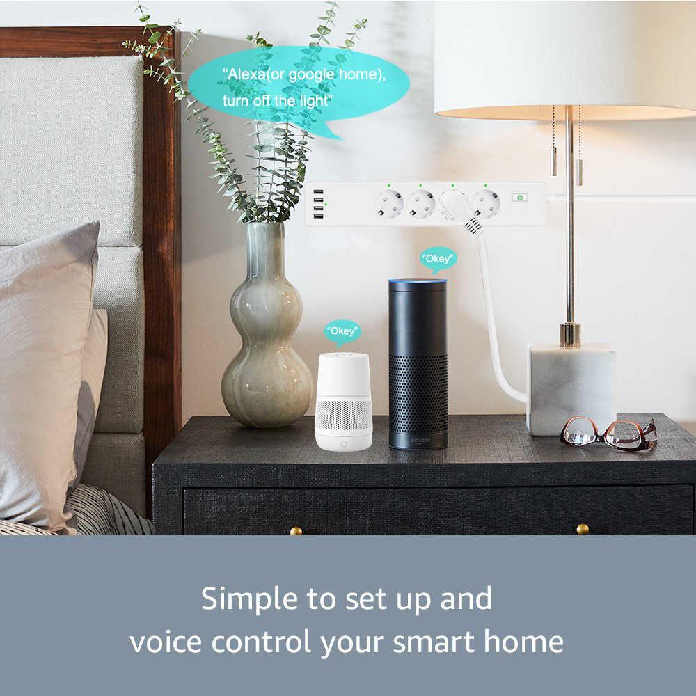 Banda de Alimentación inteligente Wifi 4 tomas de corriente de la UE enchufe con 4 puerto de carga USBCharging App Control de voz trabajo con Alexa Google Asistente de inicio
