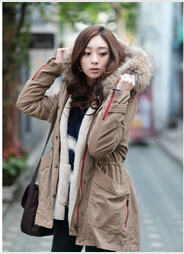 2013 Winter Slim Army Green Large Raccoon Fur Collar Long Padded Cotton Jacket Female Lamb'S Wool Thick Coat D2009